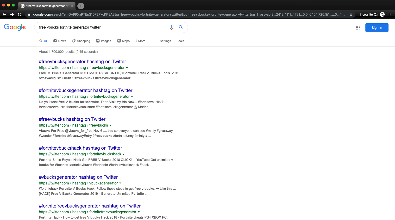 Google Search: Fortnite Scam on twitter