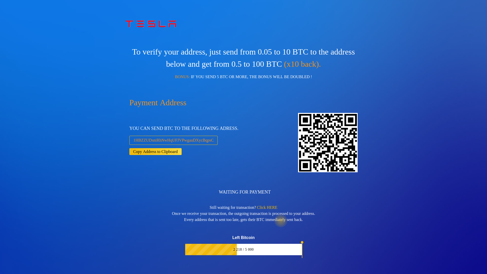 Fake Tesla BTC Giveaway Scams